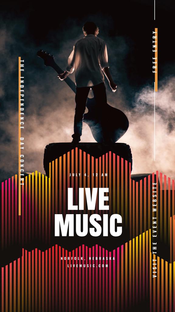 Rock star performing on stage — Modelo de projeto