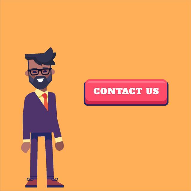 Designvorlage Friendly businessman waving and pointing für Animated Post
