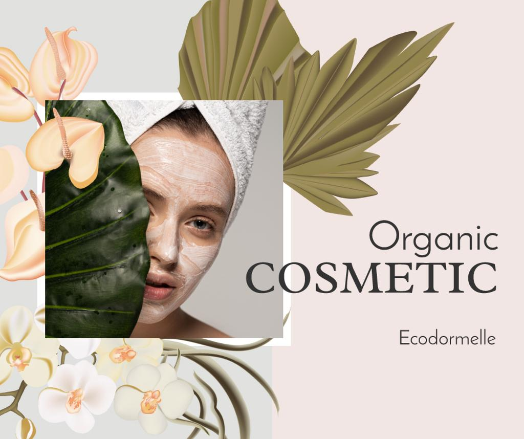 Organic Cosmetic Offer with Woman and leaves — Créer un visuel