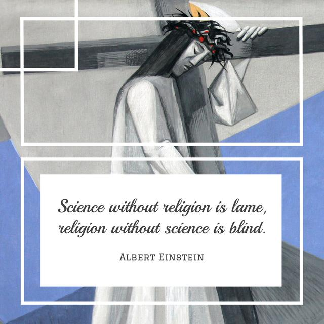 Citation about science and religion Instagram Design Template