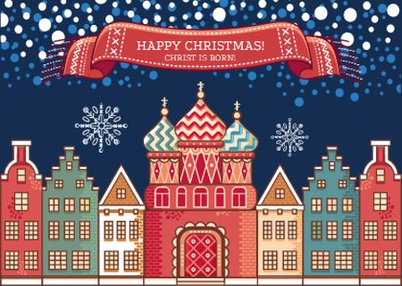 Plantilla de diseño de Happy Christmas Greeting with Snowy Night Town Postcard