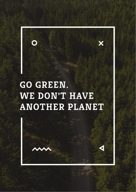 Citation about green Planet Poster Design Template