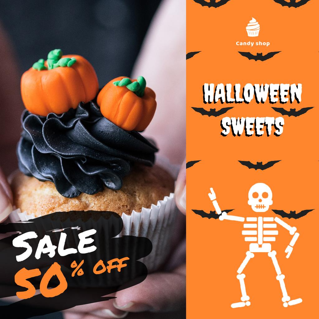 Trick or Treat Sale Halloween Cupcake with Pumpkins | Square Video Template — Crea un design