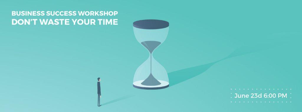 Businessman looking at giant hourglass — Créer un visuel