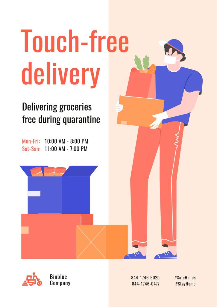 Touch-free Delivery Services offer with courier — Maak een ontwerp