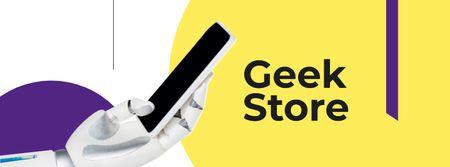 Robot hand holding smartphone Facebook cover Modelo de Design