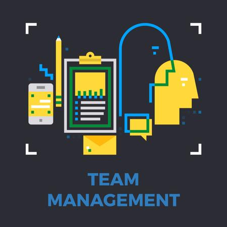 Business management icons Animated Post Modelo de Design