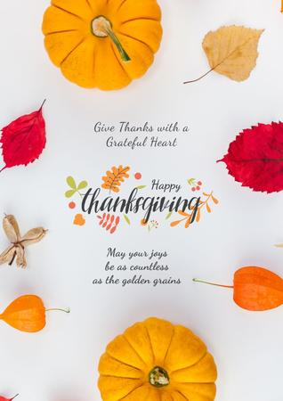 Plantilla de diseño de Thanksgiving with Autumn leaves and pumpkins Poster