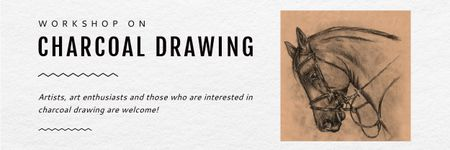 Charcoal Drawing Ad with Horse illustration Email header Modelo de Design