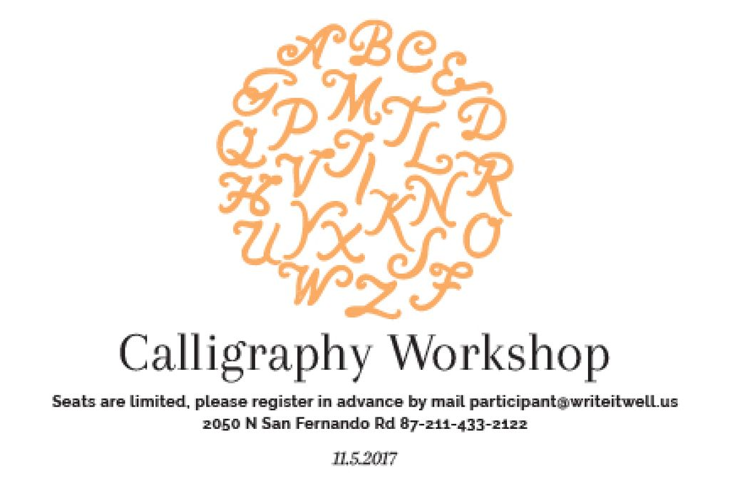 Calligraphy workshop Annoucement Gift Certificate Design Template