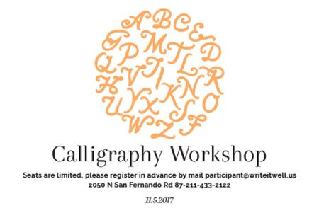 Ontwerpsjabloon van Gift Certificate van Calligraphy workshop Annoucement