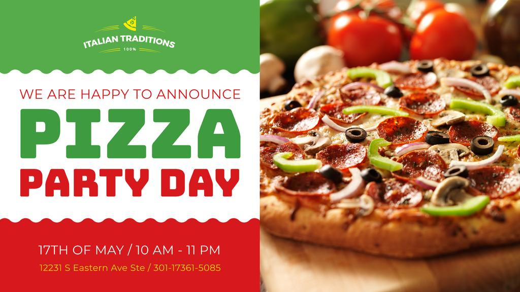 Pizza Party Day Invitation Italian Flag | Facebook Event Cover Template — ein Design erstellen