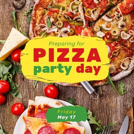 Pizza Party Day Ad Instagram Tasarım Şablonu