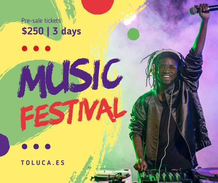 Music Fest Invitation DJ playing at Party Facebook Modelo de Design