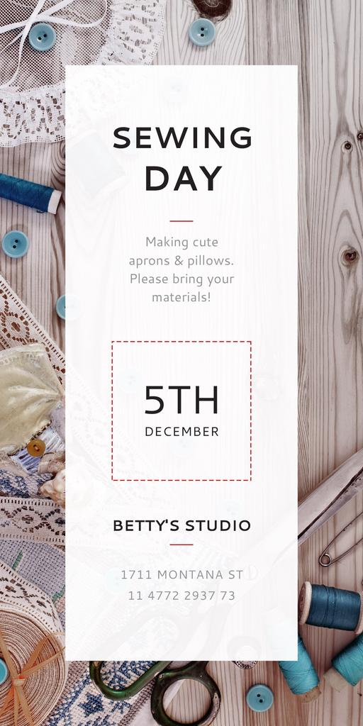 Template di design Sewing day event with needlework tools Graphic