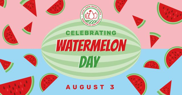 Watermelon Day Celebration Announcement Facebook AD Design Template