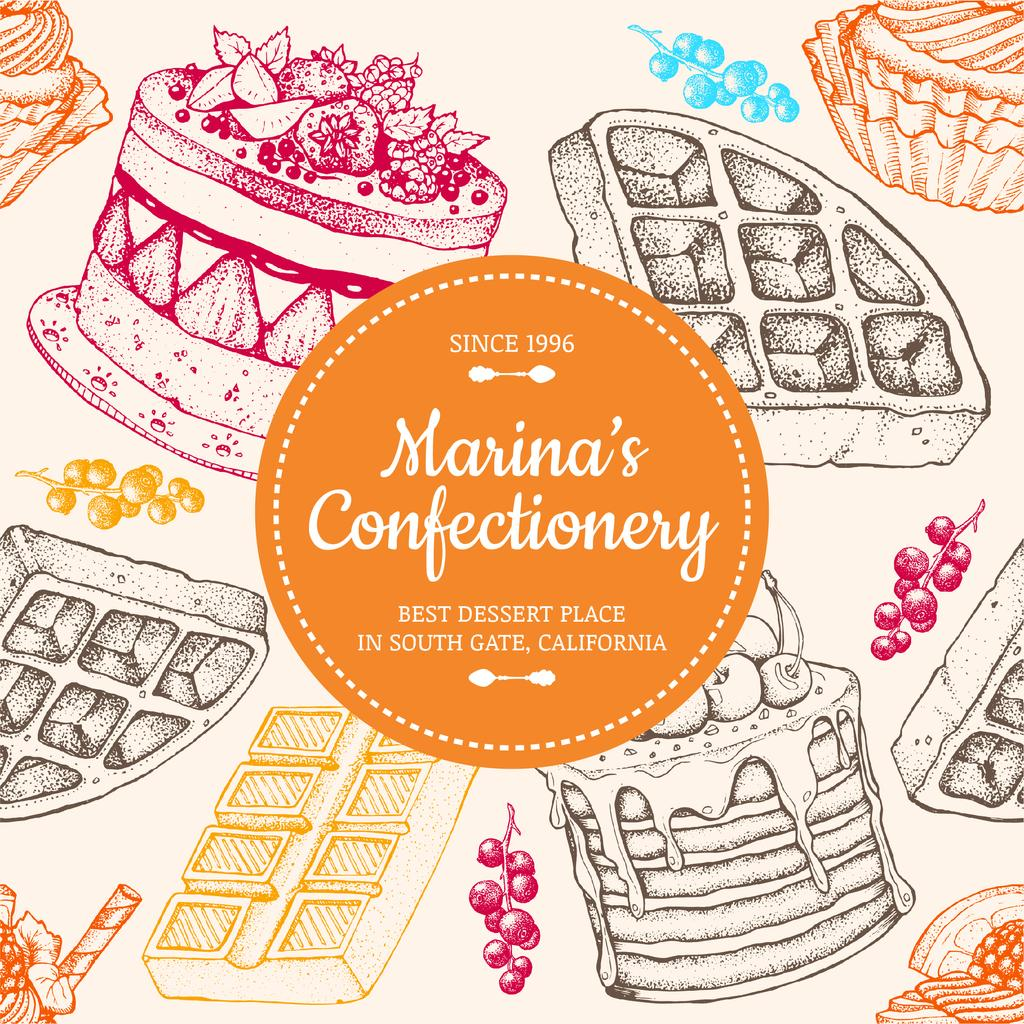 Confectionery Waffles and Cakes Sketches — Maak een ontwerp