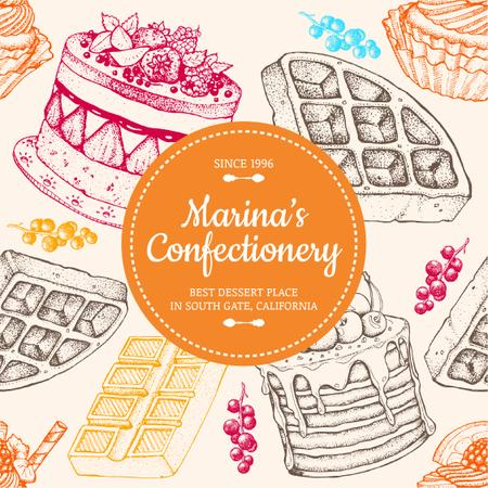 Plantilla de diseño de Confectionery Waffles and Cakes Sketches Instagram AD