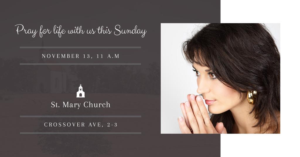 Invitation in church with praying Woman — Modelo de projeto