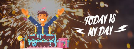 Man celebrating his birthday Facebook Video cover Modelo de Design