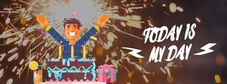 Ontwerpsjabloon van Facebook Video cover van Man celebrating his birthday