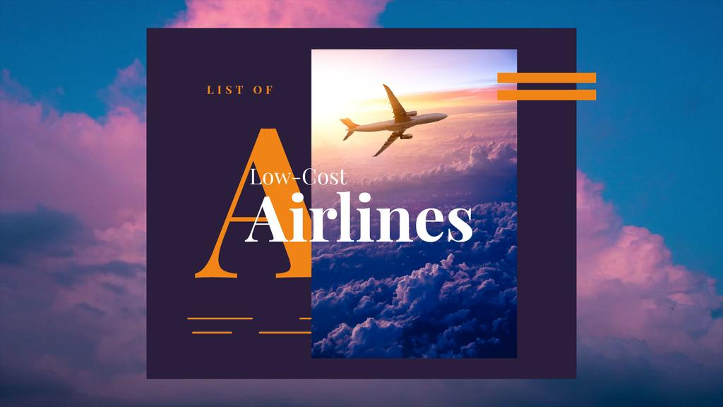 Airlines Ad Plane Flying Purple Sky | Full HD Video Template — Modelo de projeto