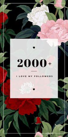 Followers appreciation on Flowers Graphic Modelo de Design