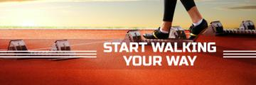 Sports Motivation Quote Runner at Stadium | Twitter Header Template