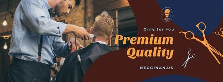 Plantilla de diseño de Client at professional barbershop Facebook cover
