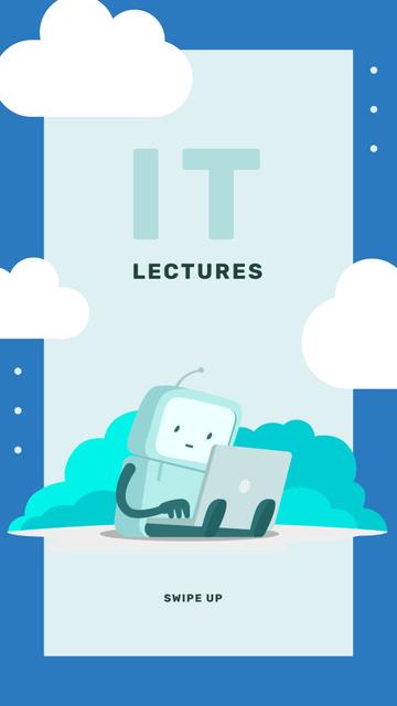 Robot working on laptop Instagram Story – шаблон для дизайна
