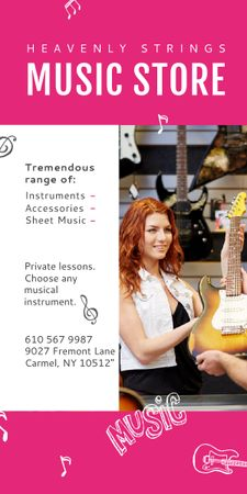 Ontwerpsjabloon van Graphic van Music Store Ad Woman Selling Guitar