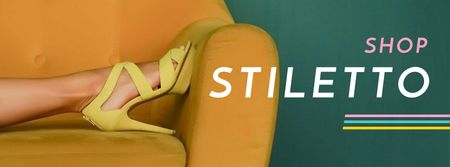 Shop Ad with Female Legs on Yellow Sofa Facebook coverデザインテンプレート