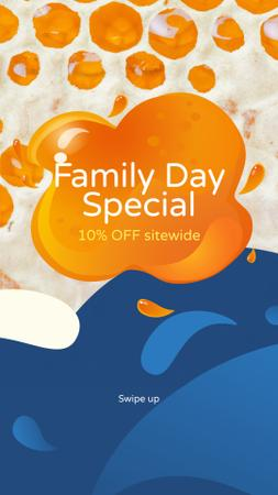 Family Day sale on colorful blots Instagram Story Modelo de Design