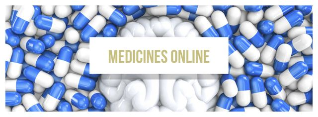 Pharmacy advertisement with brain and pills Facebook cover – шаблон для дизайна