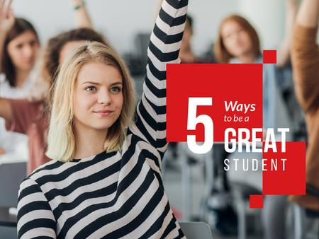 Education Tips with Student Raising Hand in Class Presentation Modelo de Design