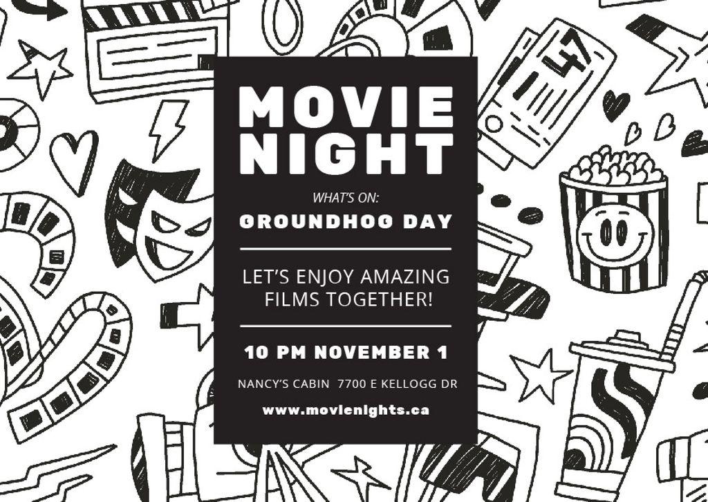 Movie Night Event Arts Icons Pattern — Maak een ontwerp