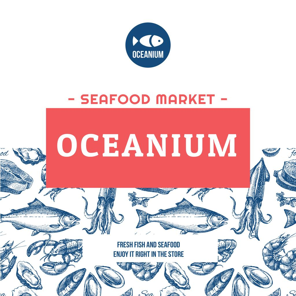 Market Ad Assorted Fresh Seafood Sketches — Create a Design