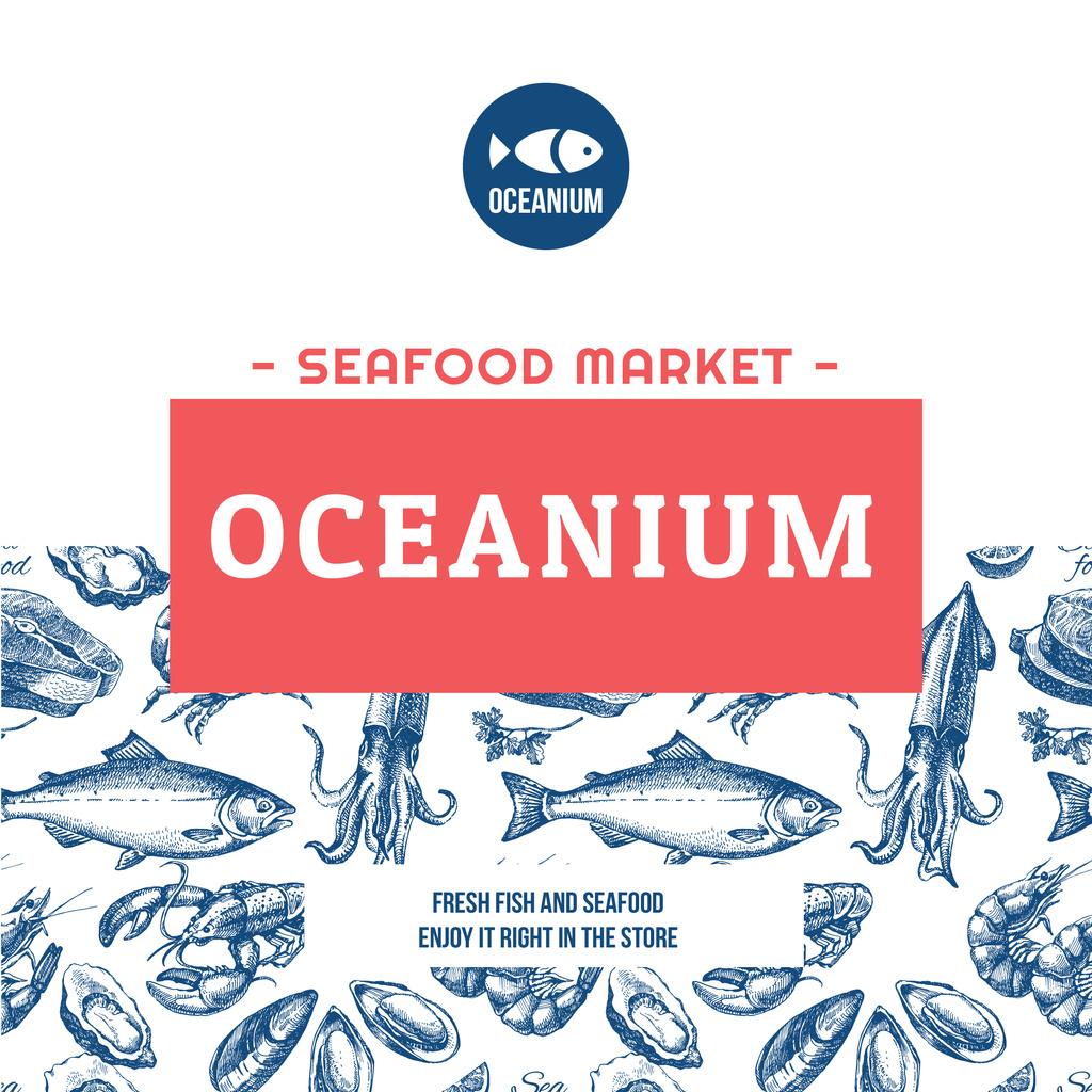 Market Ad Assorted Fresh Seafood Sketches — Maak een ontwerp