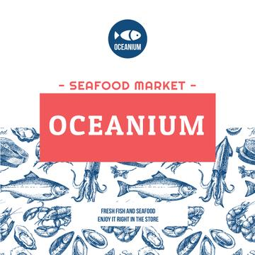 Market Ad Assorted Fresh Seafood Sketches