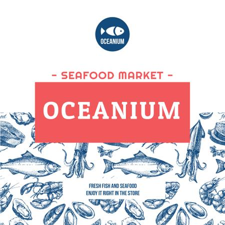 Market Ad Assorted Fresh Seafood Sketches Instagramデザインテンプレート