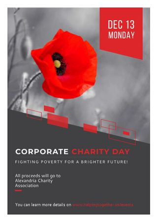 Plantilla de diseño de Corporate Charity Day announcement on red Poppy Invitation