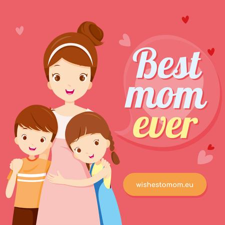 Mother hugging kids on Mother's Day Instagram Modelo de Design