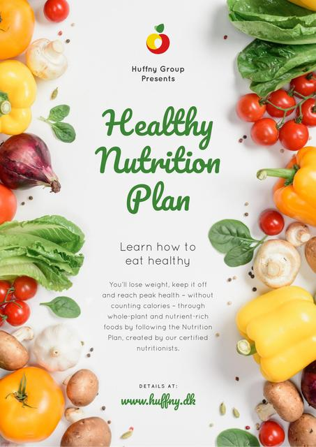 Healthy Nutrition Plan with Raw Vegetables Poster Design Template