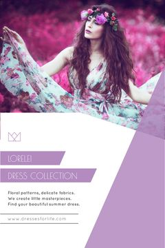 Fashion Collection Ad Woman in Floral Dress | Tumblr Graphics Template