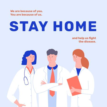 Plantilla de diseño de #Stayhome Coronavirus awareness with Doctors team Instagram