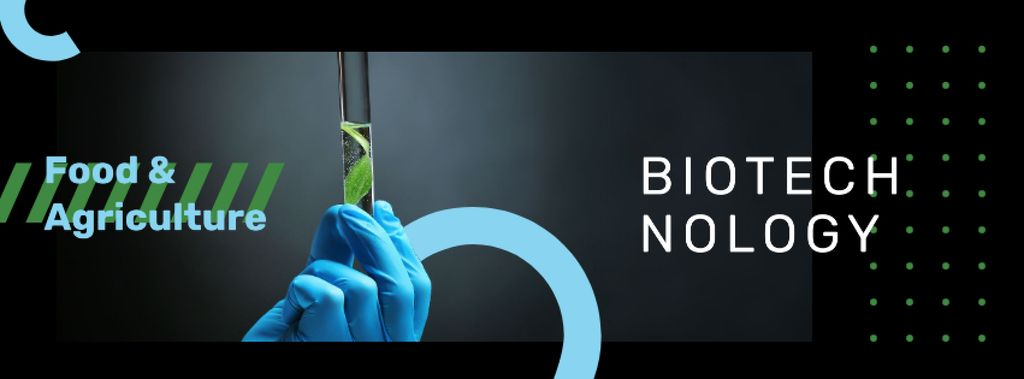 Scientist holding test tube with plant Facebook coverデザインテンプレート