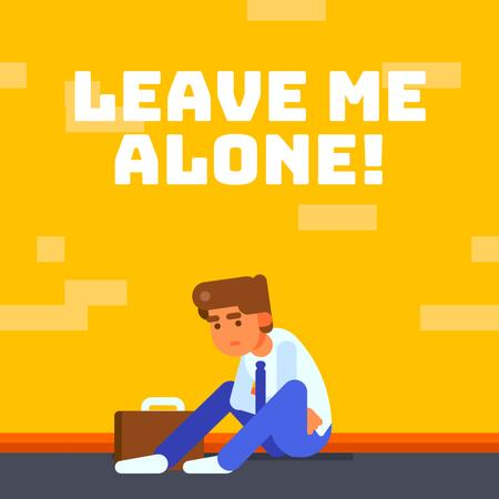 Depressed Businessman Sitting on Street Animated Post – шаблон для дизайна