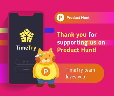 Product Hunt Campaign Ad Login Page on Screen Facebookデザインテンプレート