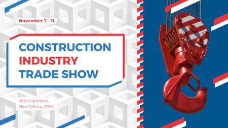 Building industry event with Crane at Construction Site FB event cover Modelo de Design