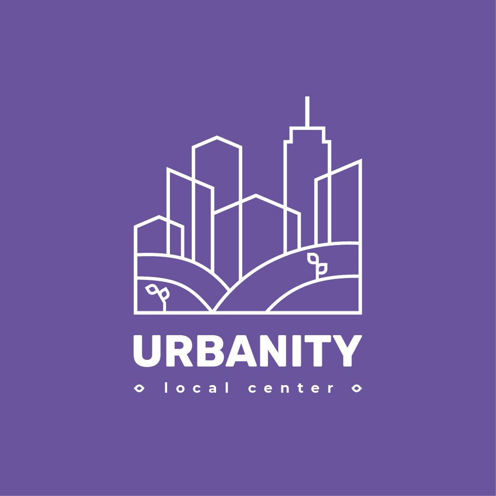 City Planning Company Building Silhouette in Purple | Logo Template — Créer un visuel